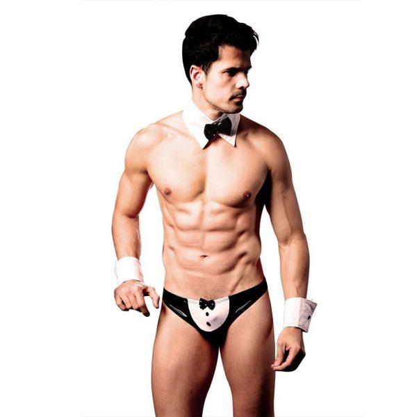 Sexy Men Thongs Laimeng World Sexy Men Mankini Thong Waiter Costume Cosplay Lingerie Bow Tie Underwear Set Nightwear