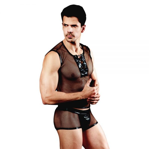 Men Role Play Costume Outfit Sexy Male Servant Sleeveless Mesh Openwork Bulge Pouch Shorts
